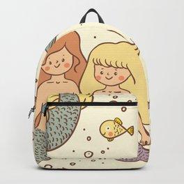 Cute Vintage Style Bff Mermaids Seamless Pattern Backpack