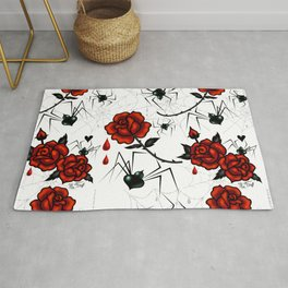 Black Widow Spider with Red Rose Rug