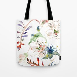 Loose lilies and blue flowers Tote Bag