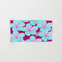 Turquoise Retro Flowers On Pink Background #decor #society6 Hand & Bath Towel