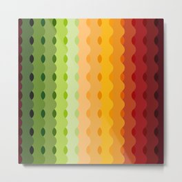 Colorful Wave up Strips Trending Pattern - Multi color Metal Print