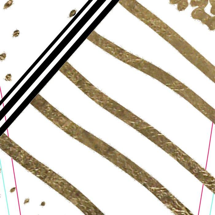 Geometrical white faux gold black stripes polka dots Leggings