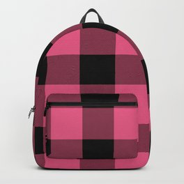 Pink & Black Buffalo Plaid Backpack