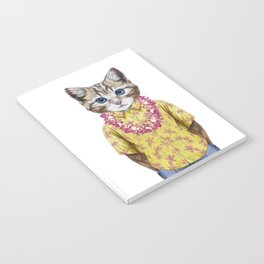 Portrait of Cat in summer shirt with Hawaiian Lei. Notebook