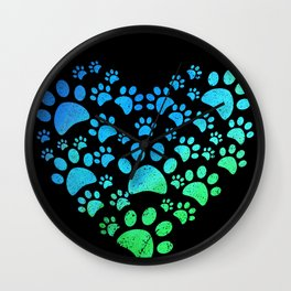 Cute Heart Dog Paws design Funny Gift For Animal Lovers Wall Clock