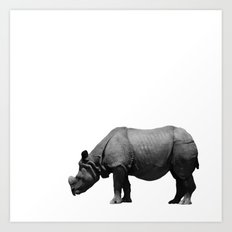 Bored Rhino Art Print