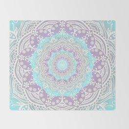 Bohemian Heaven Mandala Purple Blue White Throw Blanket