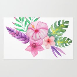 Tropical Watercolor Bouquet  1 Rug
