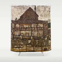Egon Schiele - House with Shingle Roof Shower Curtain