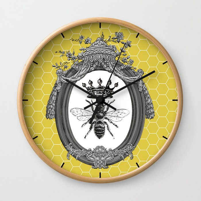 Queen Bee | Vintage Bee with Crown | Honeycomb | Wall Clock