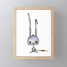 Hungry Rabbit with carrot Framed Mini Art Print