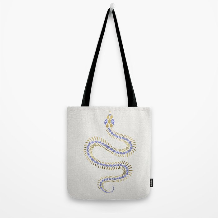 Snake Skeleton – Periwinkle & Gold Tote Bag