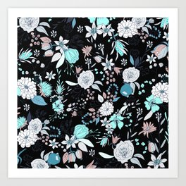 Abstract teal white black country modern floral Art Print