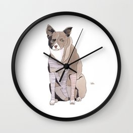 Striped Dog Wall Clock