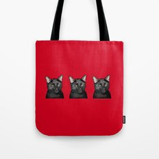 Three Black Cats on Red Tote Bag