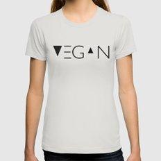 vegan me Silver MEDIUM Womens Fitted Tee