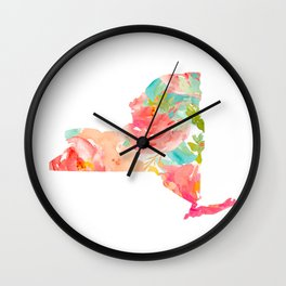 new york map floral state print nyc ny state Wall Clock