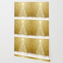 Gold Snowflakes Sparkling Christmas Tree Wallpaper