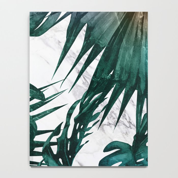 Tropical Palm Leaves on Marble Notebook