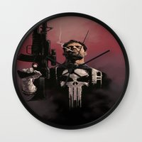 punisher Wall Clocks featuring Punisher by Dave Seguin