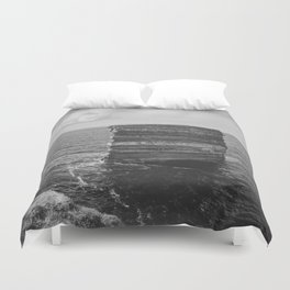 Dun Briste II Black and White Duvet Cover