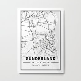 Sunderland Light City Map Metal Print