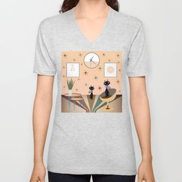 Mid-century two cat with a living room companion Unisex V-Neck