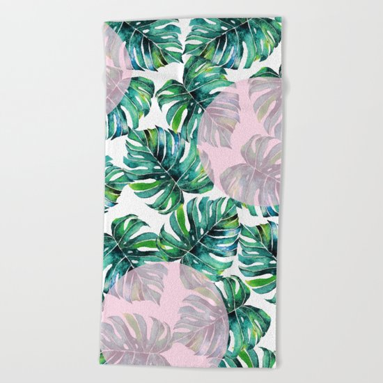 Monstera Pattern V1 #society6 #decor #buyart Beach Towel