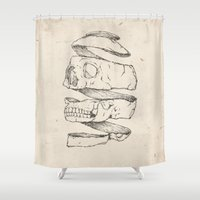 skull Shower Curtains featuring Twister Skull by Mike Koubou