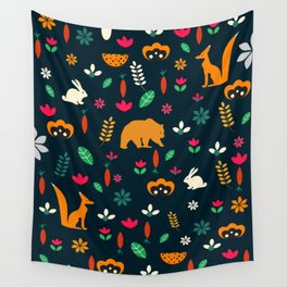Cute little animals among flowers Wall Tapestry