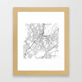 Belfast Map, Northern Ireland - Black and White Framed Art Print