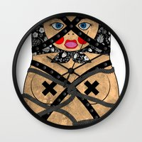 bondage Wall Clocks featuring Bondage Matryoshka/Nesting Doll by Rozenblyum Couture