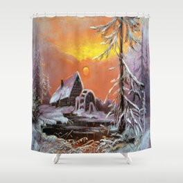 Winter house in the forest Shower Curtain