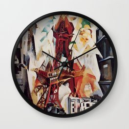 """Robert Delaunay """"Graphic Champs de Mars: The Red Tower"""" Wall Clock"""
