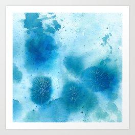 Blue thistles abstract Art Print