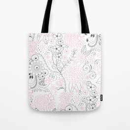 Classy doodles hand drawn floral artwork Tote Bag