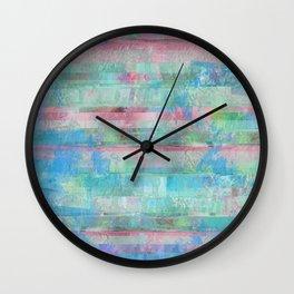 80s Pastel Glitch Wall Clock