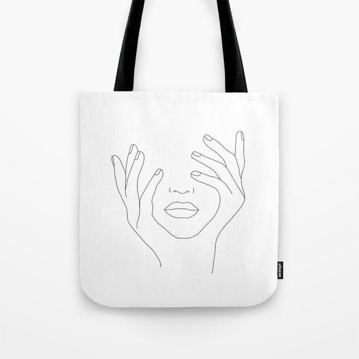 Minimal Line Art Woman with Hands on Face Umhängetasche
