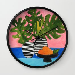 Pink Wall Monstera Wall Clock