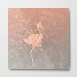 Flamingo Butterfly watercolor pastel grey apricot color artwork Metal Print