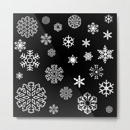 Modern black white hand painted snow flakes Metal Print