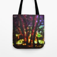 magic the gathering Tote Bags featuring SACRED TREES - THE GATHERING by artbymimulux