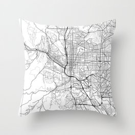 Colorado Springs Map White Throw Pillow