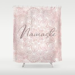Pink Mandala, Namaste Greeting, Yoga Shower Curtain