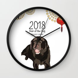 Year of the Dog - Chocolate Labrador Wall Clock