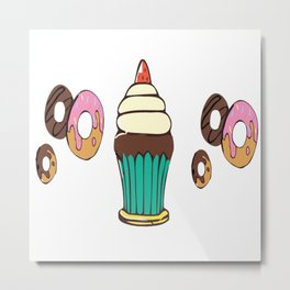 Donuts and a Cupcake White Background Metal Print