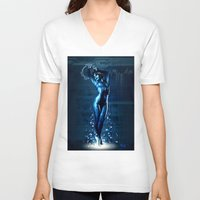 hologram V-neck T-shirts featuring Cortana by Raenyras