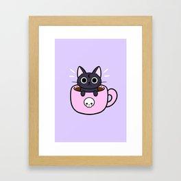 Pastel Coffee Cat Framed Art Print
