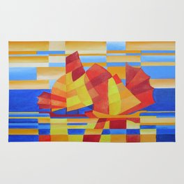 Sailing on the Seven Seas so Blue Cubist Abstract Rug