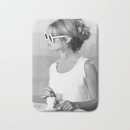 Brigitte Bardot Wearing Sunglasses and Drinking Tea Bath Mat